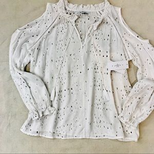 NWT -White eyelet top by Fever